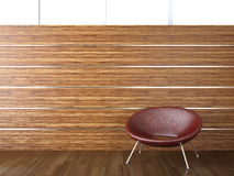 Interior design wood wall. Interior design of wood cladding wall with a red leather chair Stock Images