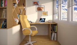 Interior design work area on the balcony royalty free illustration