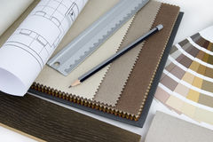 Interior design worktable. With material