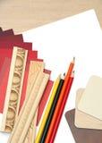 Interior design work table stock photos