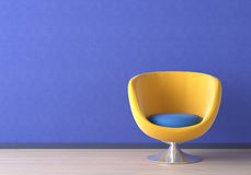 Interior design with yellow chair royalty free illustration