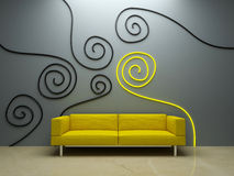Interior design - Yellow couch and decorated wall. Interior design - Yellow sofa in modern style room Royalty Free Stock Photos