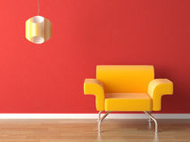 Interior design yellow on red Stock Images
