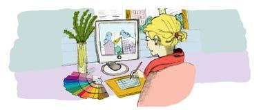 Interior Designer. Drawing with computer Stock Photos