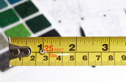 Interior designer choosing color and materials. With measuring tape Stock Image