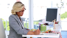Interior designer choosing tissue stock video