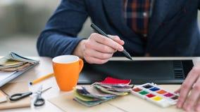 Interior designer innovative inspired ideas tablet royalty free stock photo