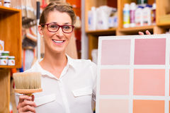 Interior Designer with paint sample card stock photos