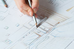 Hand drawing details of interior Stock Photography