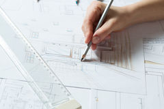 Hand drawing details of interior Royalty Free Stock Images