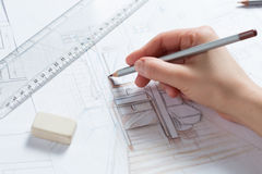 Hand drawing details of interior Stock Image