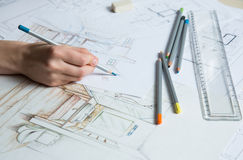Hand drawing details of the interior Stock Photo