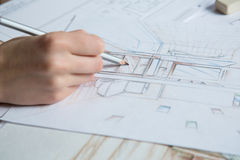 Hand drawing details of interior Stock Photos