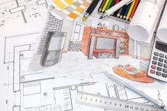 Interior designer workspace with sketches of apartment and drawi Royalty Free Stock Photo