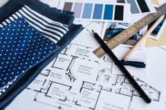 Interior designers working table Royalty Free Stock Image
