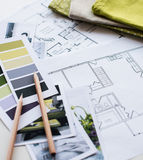Interior designers working table Royalty Free Stock Photography
