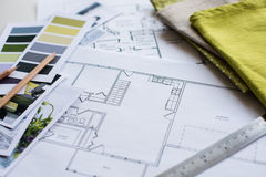 Interior designers working table Royalty Free Stock Photo