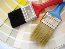 Interior Designing. Brush and paint samples Stock Photo