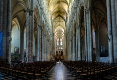 Interior and detail of Amiens Cathedral in France. The cathedral of Amiens classified in the list of the world inheritance of unesco royalty free stock photos
