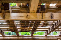 Interior detail of a wooden structure Royalty Free Stock Photo