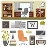 Interior details design stylized drawing modern interior house residence luxury apartment furniture decoration vector Royalty Free Stock Photos