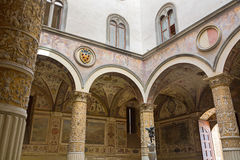Interior details of Old Palace, Palazzo Vecchio's first Courtyard, town hall of Florence, Italy stock photography