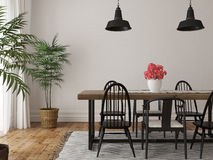 Interior of dining area with a large wooden table  Royalty Free Stock Image