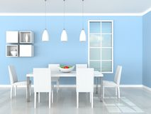 Interior of the dining modern room. 3d rendering interior of the dining modern room Stock Image