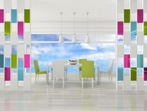 Interior of the dining modern room. 3d rendering interior of the dining modern room Royalty Free Stock Images