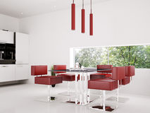 Interior of dining room 3d render Stock Images