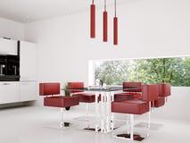 Interior of dining room 3d render vector illustration