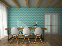 Interior of dining room with blue wallpaper 3D rendering Stock Photography