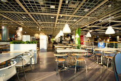 Interior of the dining room in cafe of the huge IKEA store Royalty Free Stock Images