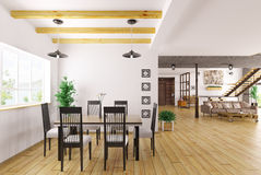 Interior of dining room 3d render Royalty Free Stock Photo