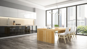 Interior of the dining room 3D rendering Royalty Free Stock Image