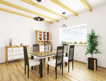 Interior of dining room 3d rendering. Classic interior of dining room 3d rendering Stock Photo