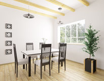 Interior of dining room 3d rendering Stock Photos