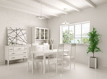 Interior of dining room 3d rendering Royalty Free Stock Images