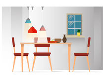 Interior dining room. Dining room with grey wall, table, chairs and lamps Stock Photo
