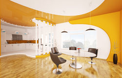 Interior of dining room and kitchen 3d render Stock Photos