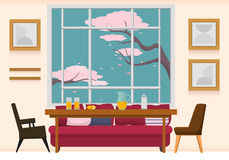 Interior dining room. Light and sunny -morning dining room with beige wall, big window with blue sky and branches of blooming tree in it. It's full of bright Royalty Free Stock Photos