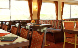 Interior of dining room in a river cruise ship Royalty Free Stock Photos