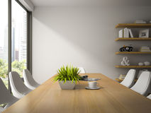 Interior of dining room with shelves 3D rendering Royalty Free Stock Photo