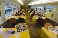 Interior of dining train Royalty Free Stock Photos
