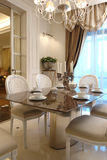 Interior of a dinning room. In white color Royalty Free Stock Images