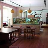Interior of a dinning room. With aquarium Stock Images