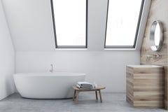 Interior, dissipador e cuba brancos do banheiro do sótão ilustração do vetor