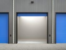 Interior do armazém com portas do obturador ilustração royalty free