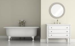 Interior do banheiro clássico com rendição redonda do espelho 3D ilustração stock