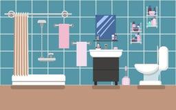 Interior do banheiro com o chuveiro em cores azuis em um estilo liso Foto de Stock